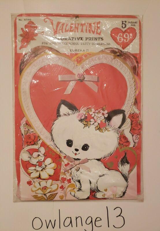 5 Vintage Valentine Die Cut Cardboard Decoration Cat Cupid Boy Girl  Eureka NIP