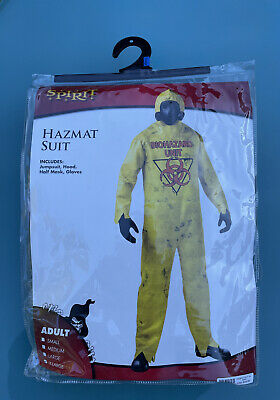 New Hazmat Jump Suit Costume Adult XL Biohazard Unit Yellow Spirit Halloween 5pc