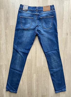 Hoxton Denim Skinny Fit Distressed/Ripped  Blue Faded Mid  Rise Jeans W32 L34