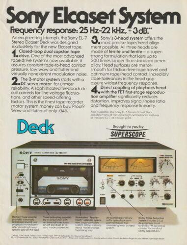 Sony - EL-7 Elcaset Deck - Original Magazine AD - 1977
