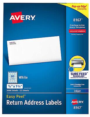 Avery 8167 Easy Peel Return Address Labels Inkjet 12 X 1 34 White 2k Sealed