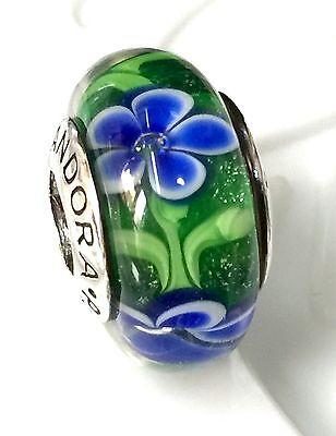 NEW Authentic Pandora 925 silver murano bead charm glass blue green flower