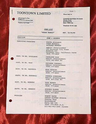 Who Framed Roger Rabbit - Production Used Crew List! COA! Spielberg! Zemeckis!