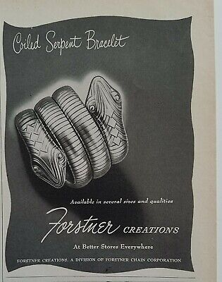 1947 Forstner corporation coiled serpent snake bracelet vintage jewelry ad