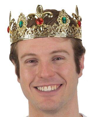 King Crown Halloween Costume (Men's Metal Filigree Jeweled Crown King Headpiece Halloween Costume)