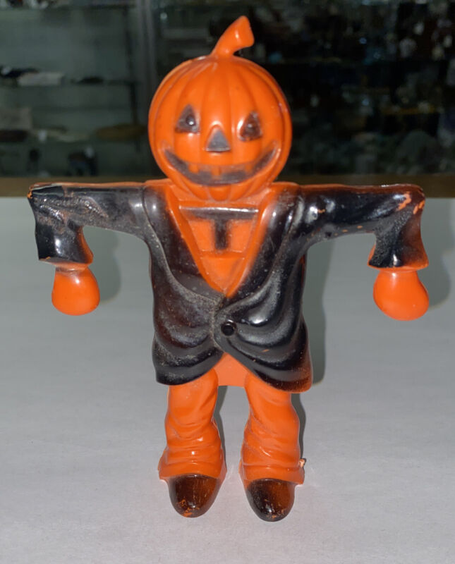 Vintage Rosbro Halloween Pumpkin Scarecrow Candy Container