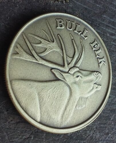 Bull Elk antique bronze coin card guard