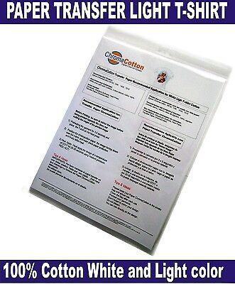 50 ChromaCotton Transfer Paper 8.5x11 for White Light White T-shirt 100%Cotton