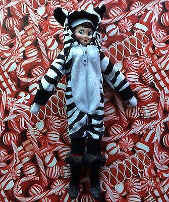 Christmas Elf Doll Clothes WARM WINTER ZEBRA SNOW SUIT Halloween Outfit Shelf - Elf Halloween Kit
