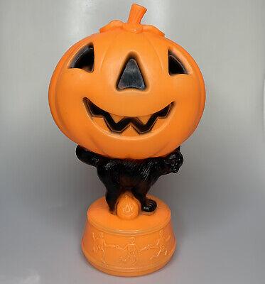 """Vintage Halloween JACK-O-LANTERN 14"""" Blow Mold Black Cat Skeletons No Light"""