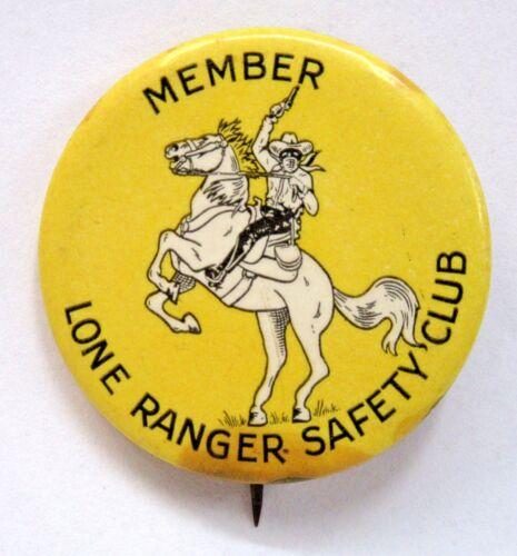 scarce 1938 LONE RANGER SAFETY CLUB MEMBER pinback button radio movies Western *