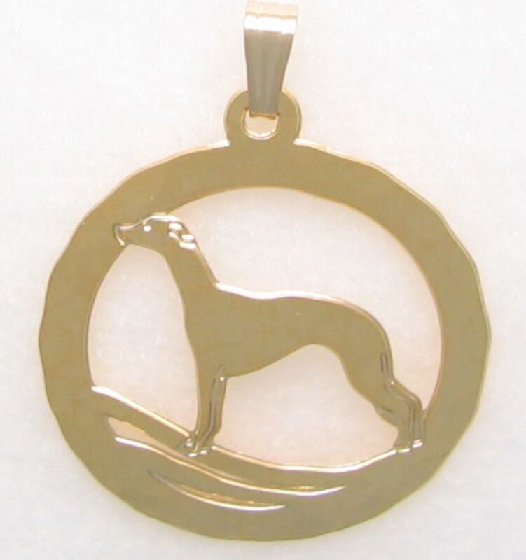 Greyhound/Whippet Jewelry Gold Pendant by Touchstone