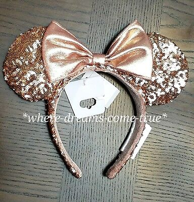Disney Parks Rose Gold Minnie Mouse Bow Sequins Ear Headband (NEW)!!!