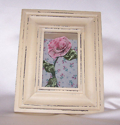 Shabby Chic Ribbon Rose Shadow Box, NWT Medal Shadow Boxes