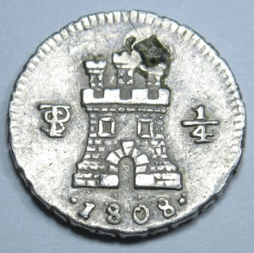Potosi 1808 Silver 1/4 Reales Real Lion And Castle Spanish Cob Old Colonial Coin