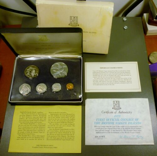 1973 British Virgin Island Proof Set Franklin Mint 6 Coin Set With COA