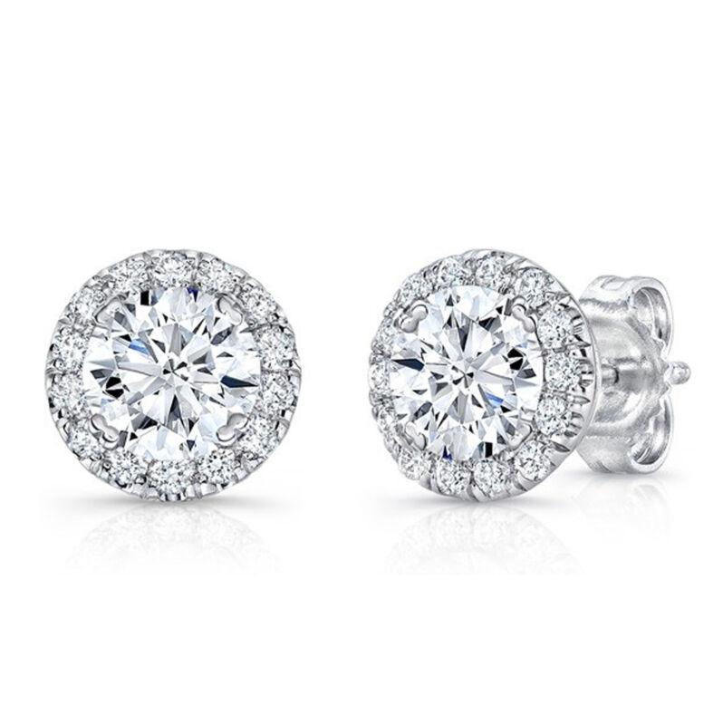 1.21 Ct Diamond Stud Earrings 14K Hallmark White Gold Earring Studs Round VVS1/D