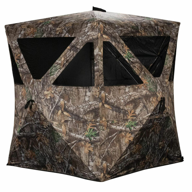 Rhino Blinds R100-RTE Durable 2 Person Outside Hunting Ground Blind, Realtree