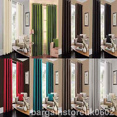 Faux Silk Grommet Window Panels Drape Curtains Top Ring Room Window Curtains