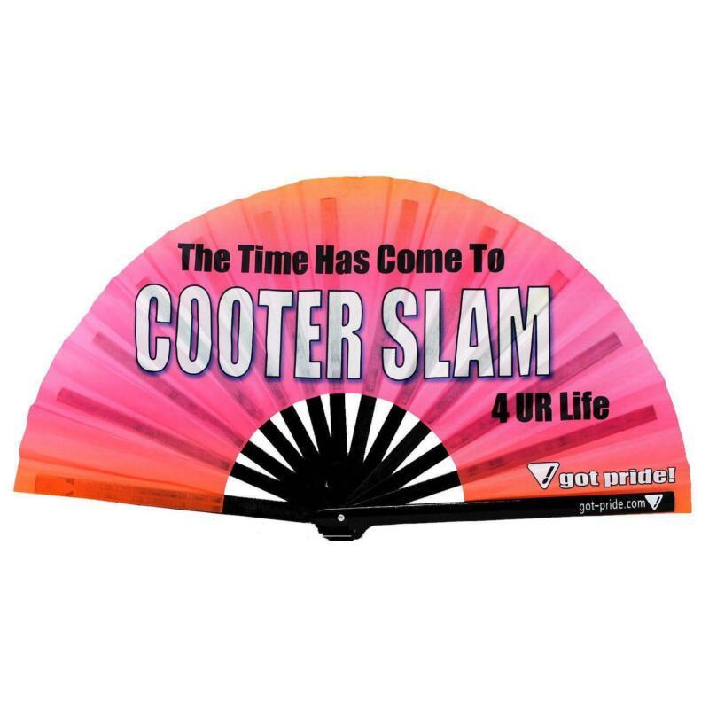 Cooter Slam Klackin Fan™ Got Pride!® Bamboo Folding Hand Fan, Gay Fan