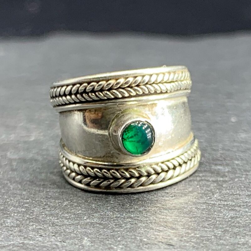 Vintage 925 Sterling Silver Toe Ring Wide Band Rope Green Glass Size 0