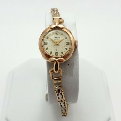 Antique Russian Soviet 14K Rose Gold Platinum K100 Ladies Wind Up Watch 7in 19gr