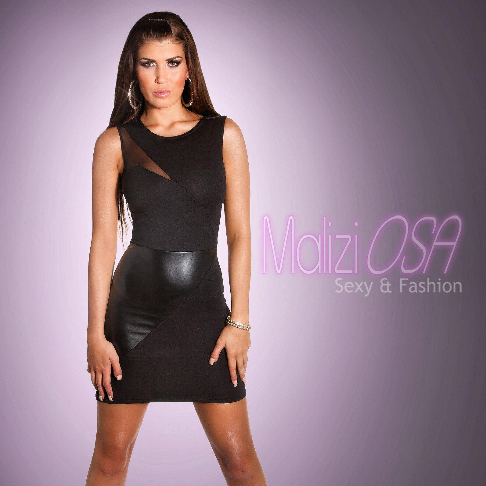 cae7ecd80359 Mini Abito Tubino nero wetlook tulle Vestito DONNA Sera Party vestitino Sexy  Hot