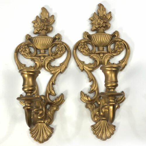 Vintage Pair 1969 Syroco Gold Tone Candle Holders Sconce #4036 Hollywood Regency