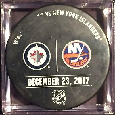 17-18 Game Used Warm Up Puck Islanders vs Jets Matt Barzal 1st Career Hat Trick
