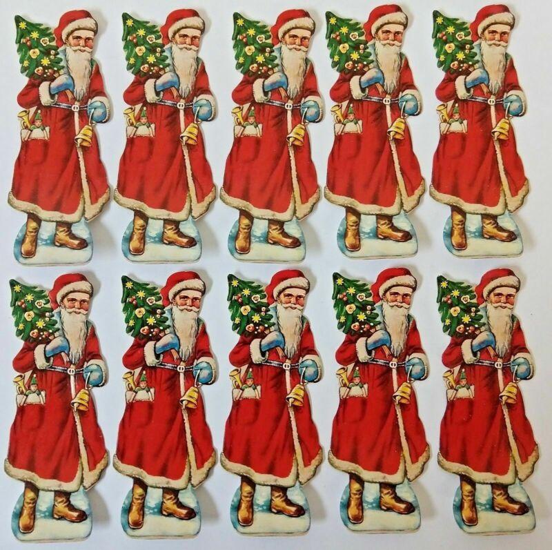 Lot of 10 Vintage 1930 German SANTA CLAUS Christmas Embossed Diecut Scrap Papers
