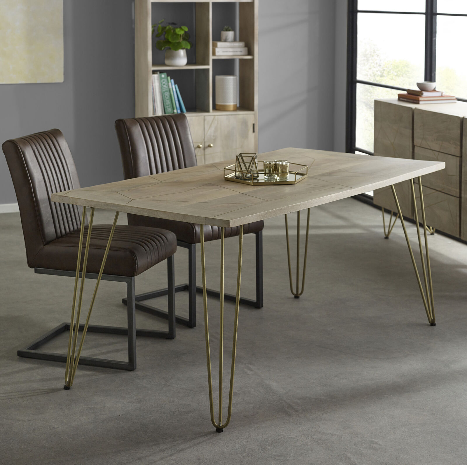 Dining Table 6 Seater Rustic Solid Mango Wood Light Gold Retro Hairpin Legs Ebay