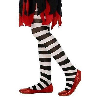 Kinder Mädchen Schwarz und Weiß Gestreift Kostüm Kostüm Strumpfhose Alter 6-12