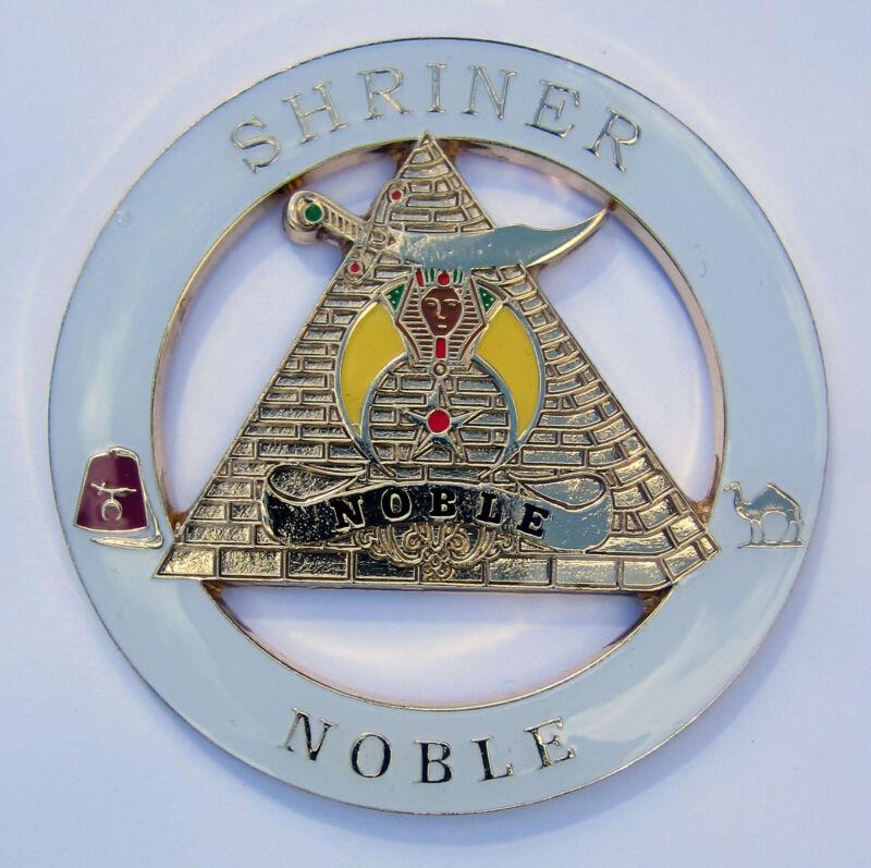Auto Emblem Shrine Shriner Noble White Die Cut Metal Enamel Mason Freemason