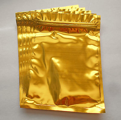 25 Gold 5.5x7.75 Aluminumfoil Pouches Mylar Ziplock Bag Smell Proof Packaging