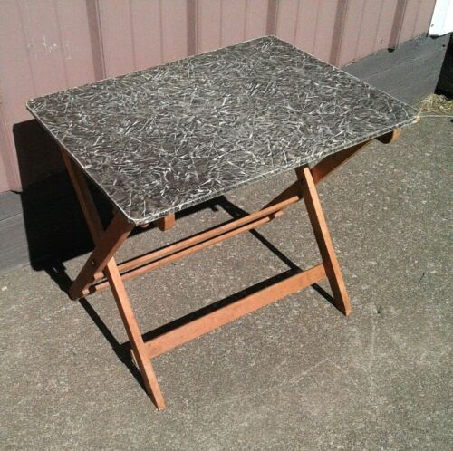 Vintage Wooden Fold Up TV Stand or Table Maple 1930s Era