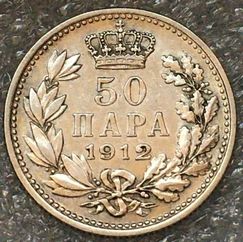 1912 SERBIA 🇷🇸 Silver 50 Para Coin, Petar I, free combined shipping.