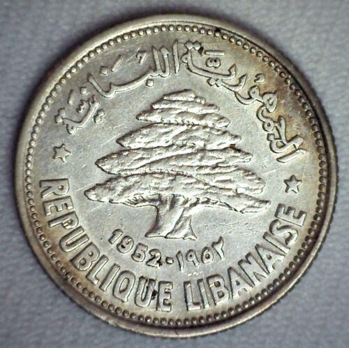 1952 Lebanon Silver 50 Piastres Coin Almost Uncirculated Cedar Tree