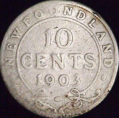 1903 Canada - Newfoundland Silver 10 (Ten) Cents - KM# 8 - Good