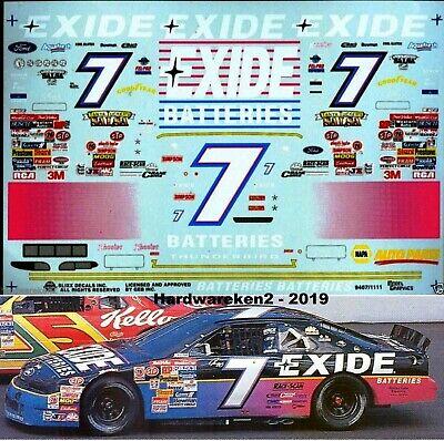NASCAR DECAL # 7 EXIDE BATTERIES 1994 FORD THUNDERBIRD GEOFFE BODINE  - 1/24