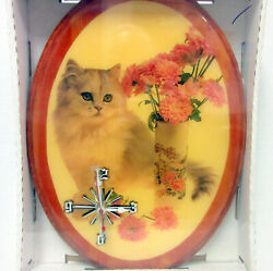 New Hand Crafter Cat w/ Pink Flowers Oval Resin Picture Quartz Wall Clock Cats