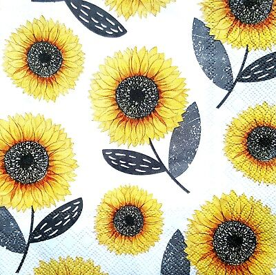 4 Lunch Paper Napkins for Decoupage Party Table Craft Vintage Sunflowers Mix