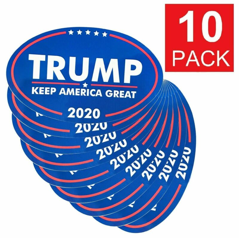 """10-Pack TRUMP 2020 Keep  America Great Bumper Stickers Oval Decals Blue 2"""""""