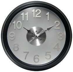 Infinity Instruments The Onyx 15 inch Black/Silver Modern Decorative Wall Clock