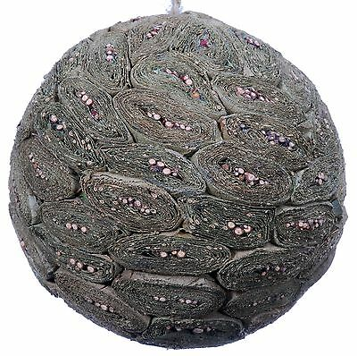 Leaf Twig Mosaic Decorative Ball Ornament Natural Green Christmas Tree New 577f