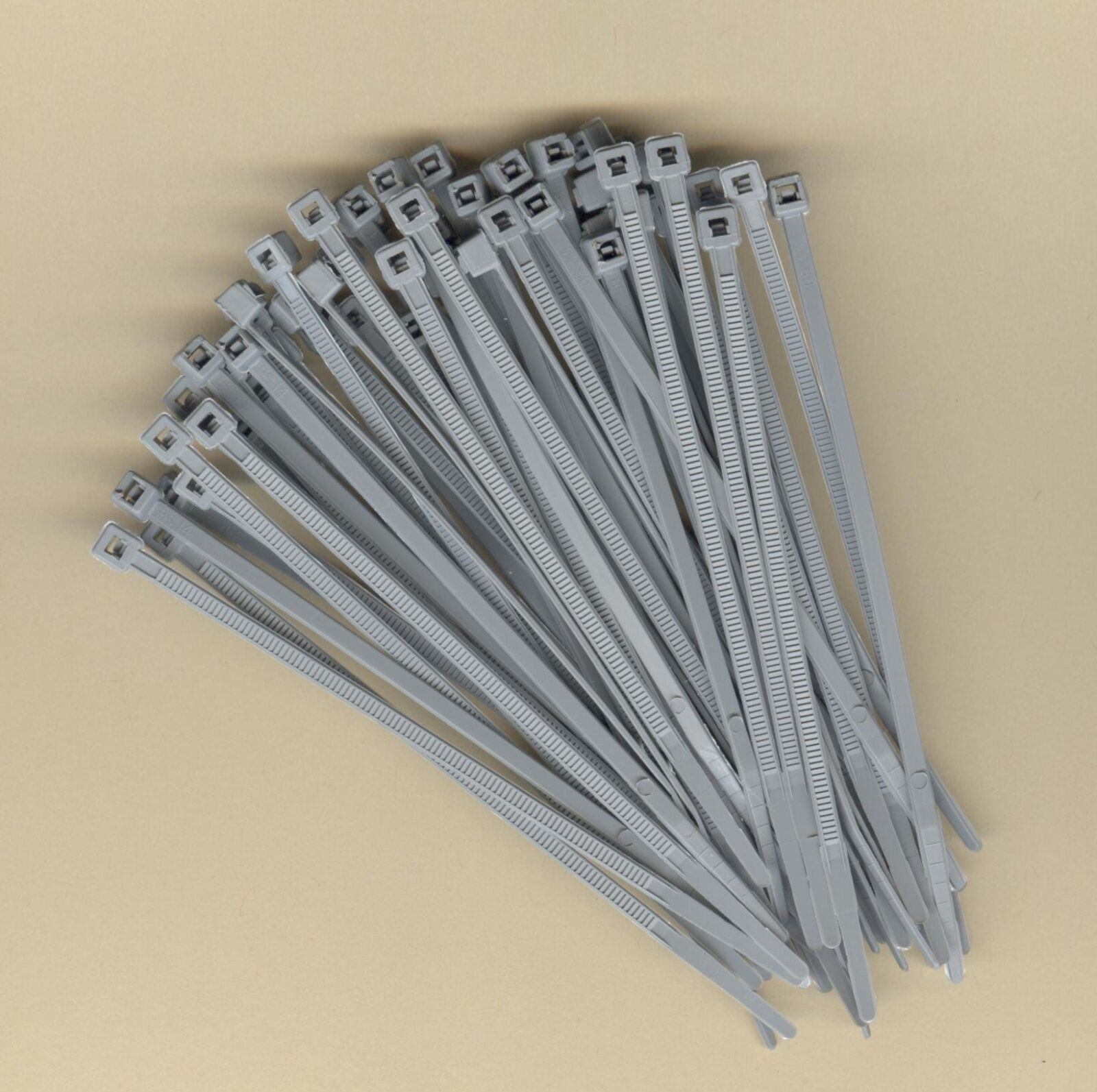 """100 4"""" Inch Long 18# Pound GRAY GREY NYLON Cable Ties Zip Ty"""