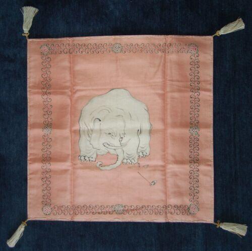 Silk fukusa gift cloth, elephant, filial piety, Japan Meiji/Taisho era