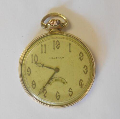 Waltham Riverside 14K Yellow Gold Open Face Pocket Watch # 24322143 Model 1924