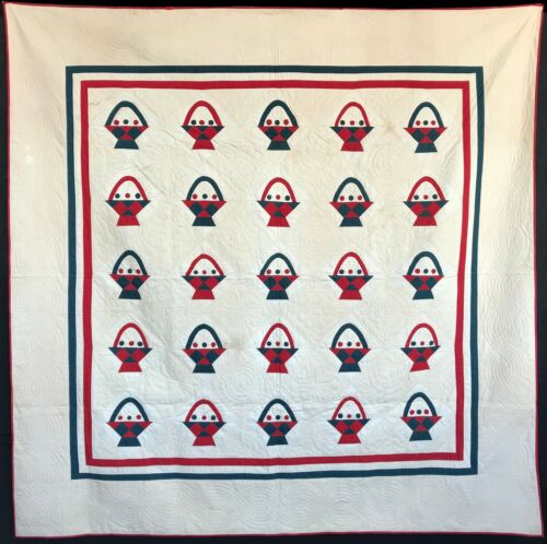 Antique 1880 Red and Green Basket Quilt