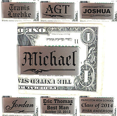 Personalized Metal Money Clip Customized Engraved Valentines Day Gifts For Him
