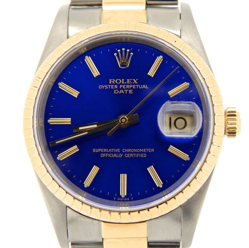 Rolex Date 15223 Men Stainless Steel 18k Yellow Gold Watch Oyster Band Blue Dial